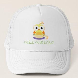 Yellow Baby Bird Gender Reveal Baby Shower Trucker Hat
