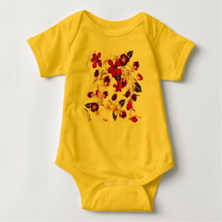 Yellow baby body with Folk design Baby Bodysuit