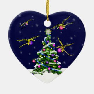 Yellow Baby Dragons Encircle a Christmas Tree Ceramic Heart Ornament