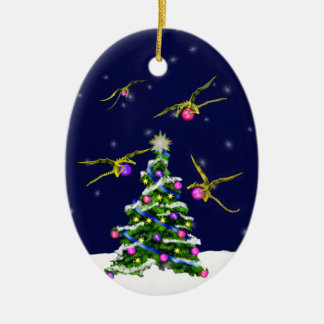 Yellow Baby Dragons Encircle a Christmas Tree Ceramic Oval Ornament