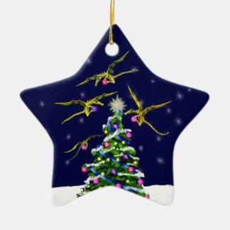 Yellow Baby Dragons Encircle a Christmas Tree Ceramic Star Ornament