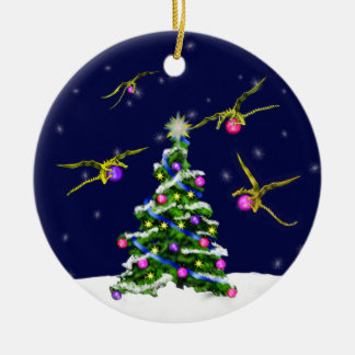 Yellow Baby Dragons Encircle a Christmas Tree Round Ceramic Ornament