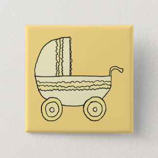 Yellow Baby Pram. 2 Inch Square Button