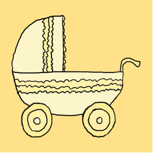 Yellow Baby Pram. Photo Cut Outs