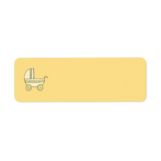 Yellow Baby Pram. Return Address Label