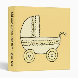 Yellow Baby Pram. Vinyl Binder