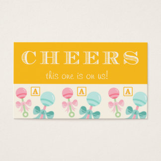 Yellow Baby Rattle Baby Shower Drink Ticket
