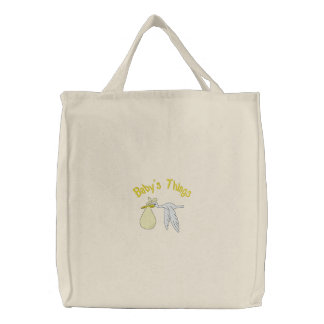 Yellow Baby s Things Embroidered Bag