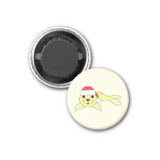 Yellow Baby Seal in Christmas Red Santa Hat 1 Inch Round Magnet