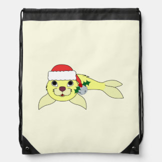 Yellow Baby Seal with Santa Hat & Silver Bell Backpacks