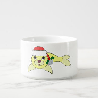 Yellow Baby Seal with Santa Hat & Silver Bell Chili Bowl