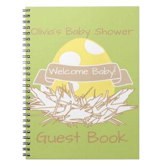 Yellow Baby Shower Modern Nature Bird Guest Book