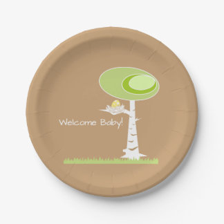 Yellow Baby Shower Modern Nature Paper Plates 7 Inch Paper Plate