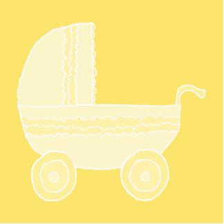 Yellow Baby Stroller. Photo Sculpture Magnet