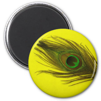 Yellow Background Peacock Feather 2 Inch Round Magnet