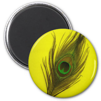 Yellow Background Peacock Feather Fridge Magnets