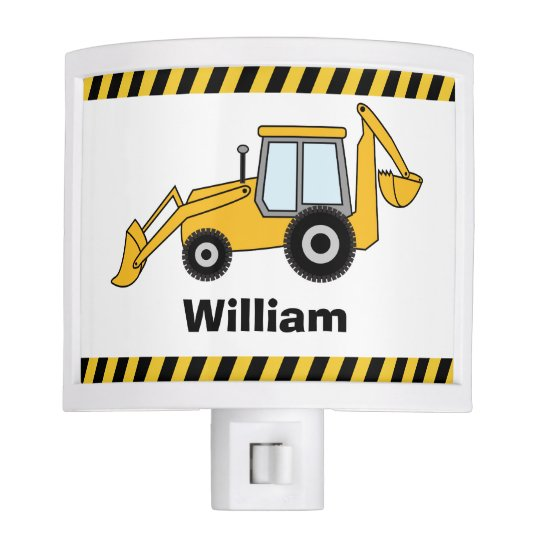 Yellow Backhoe and Loader Personalized Night Lite
