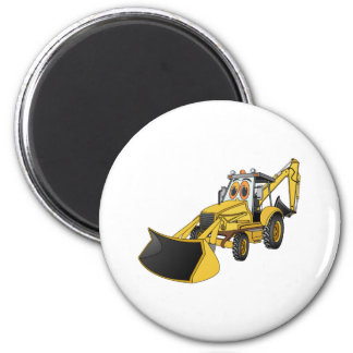 Yellow Backhoe Cartoon 2 Inch Round Magnet