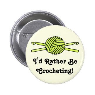 Yellow Ball of Yarn & Crochet Hooks (Yellow Back) Pinback Button