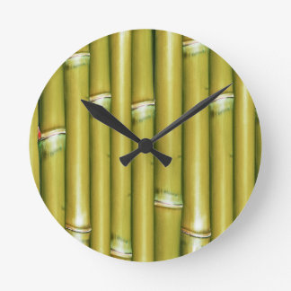 Yellow Bamboo Round Clock