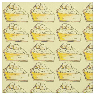 Yellow Banana Cream Pie Slice Dessert Fabric
