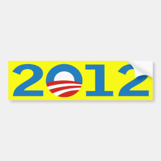 Yellow Barack Obama 2012 bumper sticker