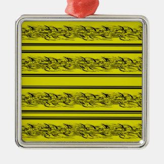 Yellow barbwire Silver-Colored square ornament