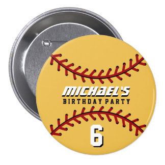 Yellow Baseball Sports Birthday Party Button Pin