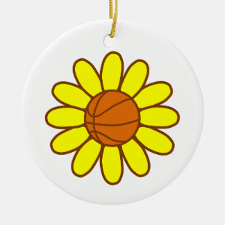 Yellow Basketball Girl Ceramic Ornament