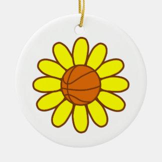 Yellow Basketball Girl Round Ceramic Ornament