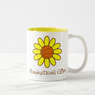 Yellow Basketball Girl Two-Tone Coffee Mug