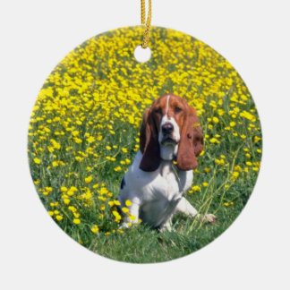 yellow Basset hound flowers Ceramic Ornament