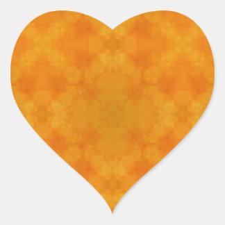 Yellow Batik Heart Sticker