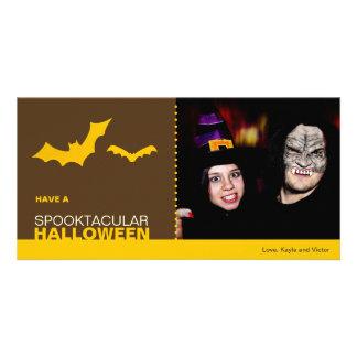 Yellow bats modern spooktacular Halloween custom Photo Card