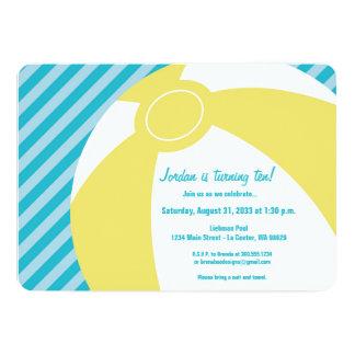 Yellow Beach Ball with Aqua Stripe Invitation