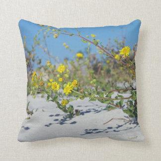 Yellow Beach Flowers Throw Pillow