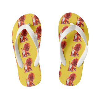 Yellow beach sandals with handpainted squirrel