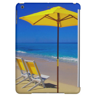 Yellow beach umbrella and chairs on pristine iPad air case