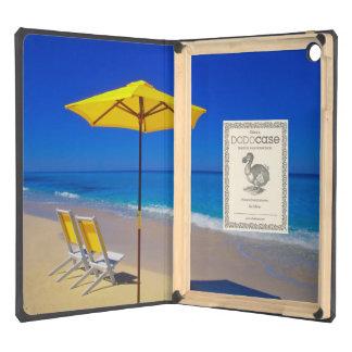 Yellow beach umbrella and chairs on pristine iPad air case
