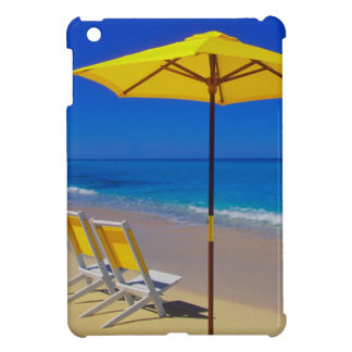 Yellow beach umbrella and chairs on pristine iPad mini cases
