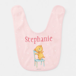 Yellow Bear Dances and Plays on Chair Baby Bib