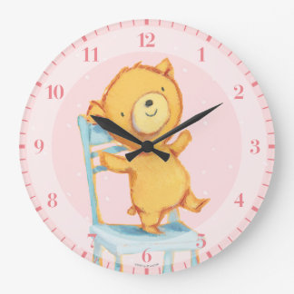 Yellow Bear Dances and Plays on Chair Wall Clock