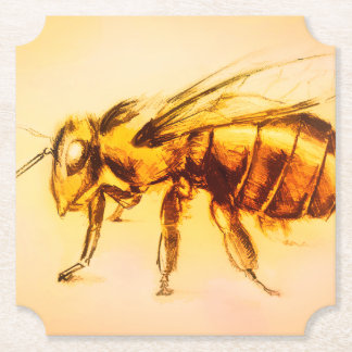 Yellow Bee Shaped Coaster, Realistic Drawing Paper Coaster