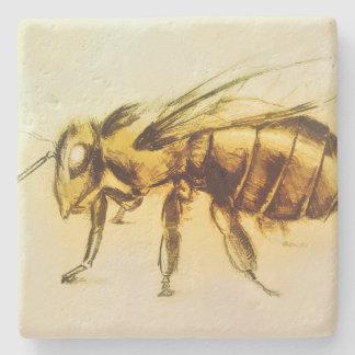 Yellow Bee Stone Coaster, Realistic Drawing Stone Coaster