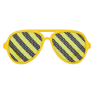 Yellow Bee Stripe Custom Party Sunglasses