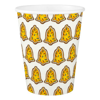 Yellow Bell Sugar Cookie Merry Christmas Holiday Paper Cup