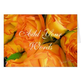 Yellow Bi-colour Roses-customize Card