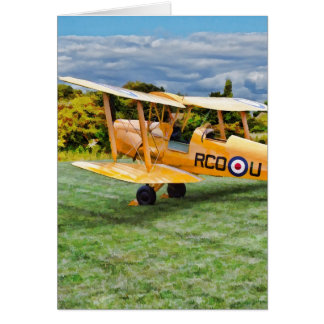 Yellow Bi Plane - cream Background Card