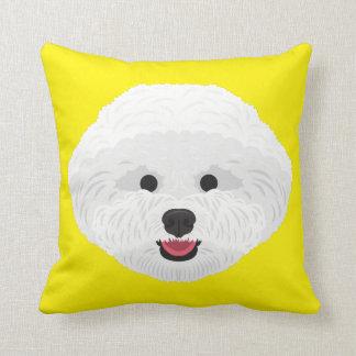Yellow Bichon Frise Throw Pillow