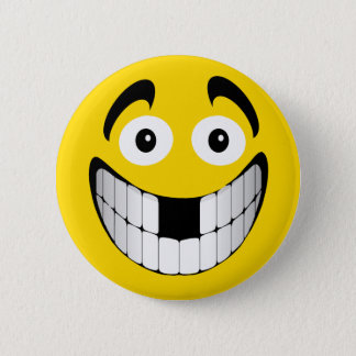 Yellow Big Grin Smiley with Missing Teeth 2 Inch Round Button